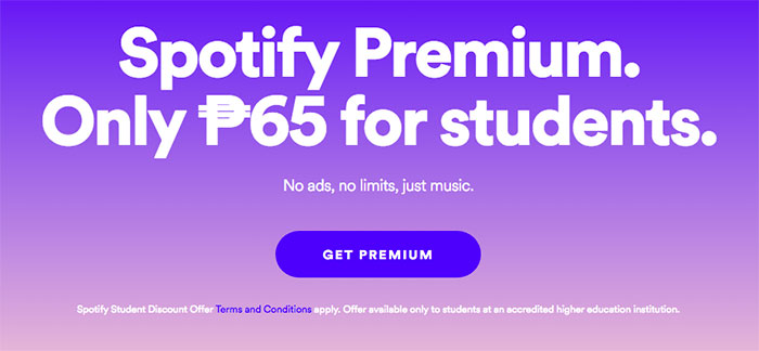 Spotify Premium now only Php 65 – Student Discount